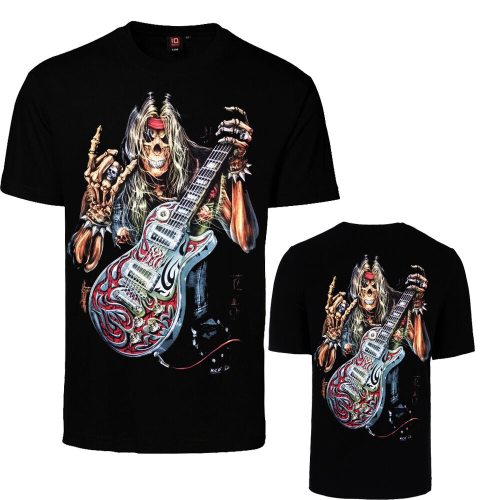 Men Gothic  T-Shirt Grim reaper  Bike With Gun Glow In Dark Print Front /& Back