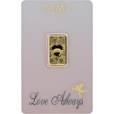 5 gram Gold Bar - PAMP Suisse - Love Always - 999.9 Fine in Assay