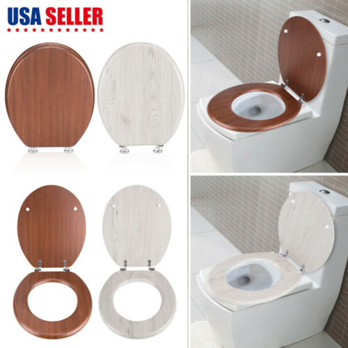 NEW Round Toilet Seat, Adjustable Chrome Hinges - Wood Brown