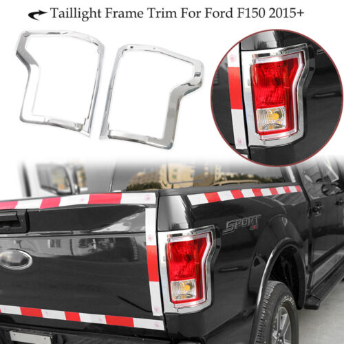 Fit 2015-2019 Ford F-150 Chrome Rear Truck Tail Light Lamp Cover Trim Bezel