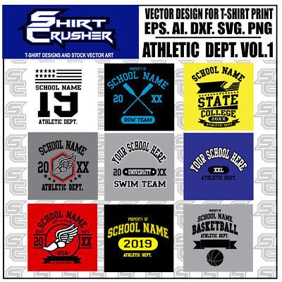 School Athletic Dept. Vector T-shirt Designs Svg. Eps. Dxf Print Ready Clip Art