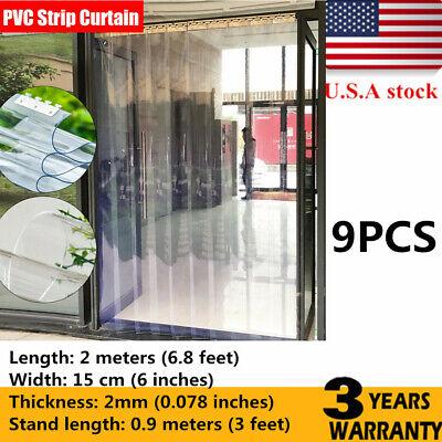 Us Strip Curtain Door 200cm X 15cm78.75.9 Cooler Freezer Walk In Pvc 9 Pcs