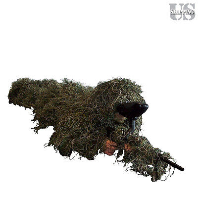 5-Piece Ghillie Suit M/L Camo Woodland Camouflage Forest Jungle Hunting 3D w/Bag
