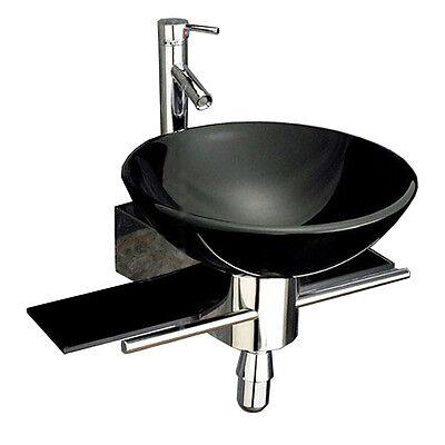 bathroom vanity furniture black tempered glass bowl vessel sink faucet 32