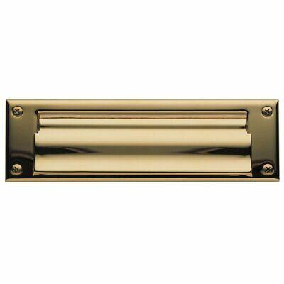 Baldwin Open Magazine Size Letter Box Plate, Lifetime Polished Brass by (Baldwin Letterbox Plate Magazine)