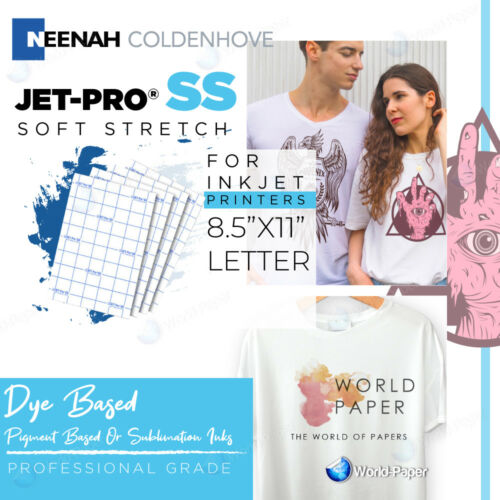 "JET-PRO Soft Stretch inkjet Heat Transfer Paper 8.5"" x 11""  25 Sheets Pack"