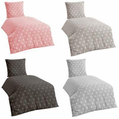 Bettwäsche Microfaser Bettbezug 135x200 Sterne Kissenbezug Grau Taupe silber ()