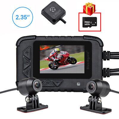 Blueskysea DV688 1080P Motorcycle Dash Cam DVR Camera With GPS Module&64GB Card
