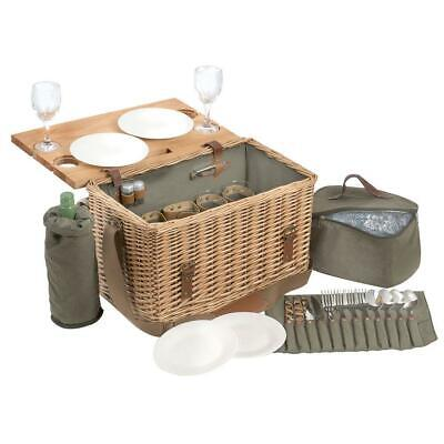 4 Person Traditional whicker Picnic Table Basket Glasses Plates Shakers Cooler