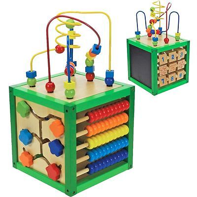 Baby Wooden Activity Cube Toy Small Play Centre Children Learning Bead Maze 18M+