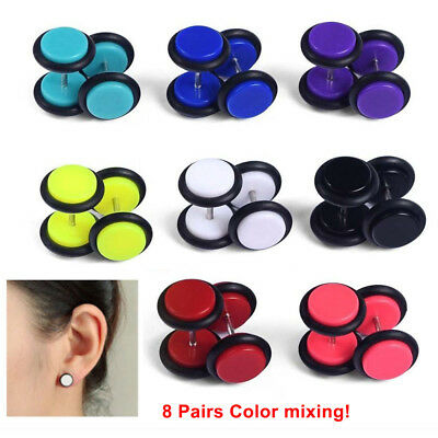 16PCS Fake Cheater Acrylic Earring Stud Barbell Ear Plug Earlet Gauges Taper NEW