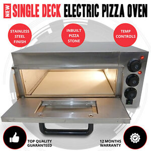 NEW Single Deck Stone Base Stainless Steel 2KW Electric Outdoor Pizza Oven
