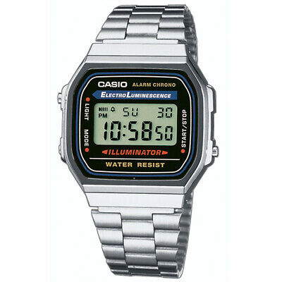 Casio Mens Classic Digital Wrist Watch Silver Stainless Steel Band A168WA/1