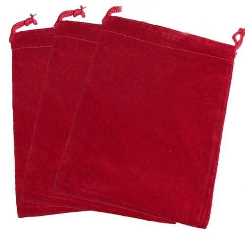 3-PAK_RED VELOUR JEWELRY GIFT POUCHES