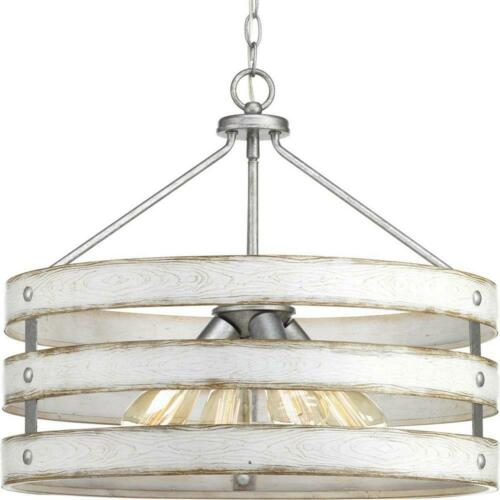 Progress Lighting Gulliver 4-Light Galvanized Drum Pendant with Wood Accents