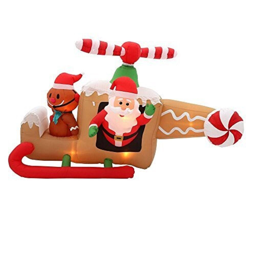 Christmas Inflatable 8' Animated Santa In Gingerbread Helicopter