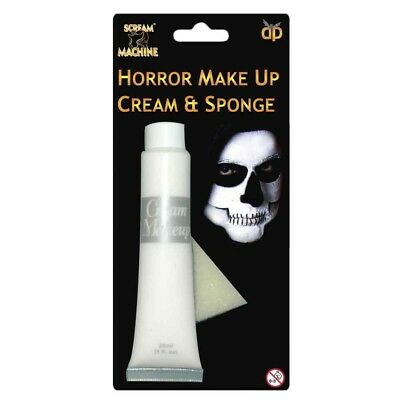 WHITE HALLOWEEN MAKE UP FACE PAINT BODY CREAM SKELETON VAMPIRE FANCY DRESS PARTY (White Body Paint Halloween)