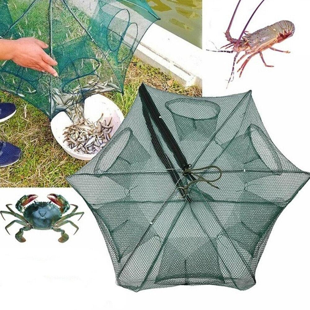 6//12 Holes Automatic Fishing Net Shrimp Cage Nylon Foldable Crab Fish Traps Cast