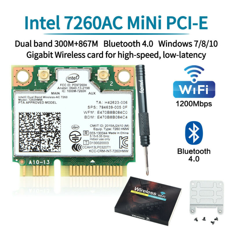 1200Mbps Wireless-AC Intel 7260HMW Mini PCI-E PC WiFi Network Card 2.4G/5G BT4.0