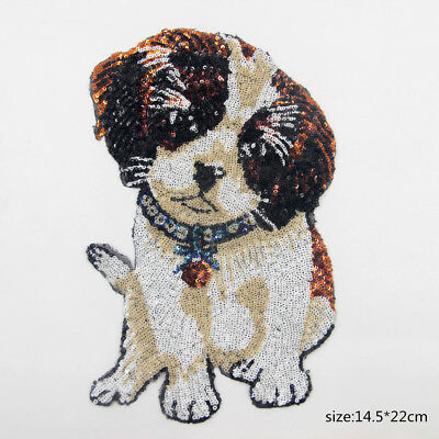 Lovely Dog Motif Sequin Embroidered Fashion Applique Sew On Patch DIY Clothing