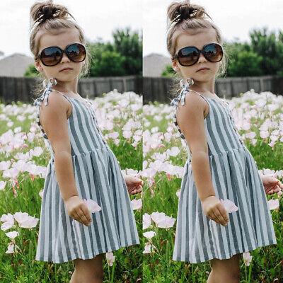 Short Kids Skirt (US Toddler Baby Girls Kids Striped Sleeveless Summer Short Mini Dress tutu)