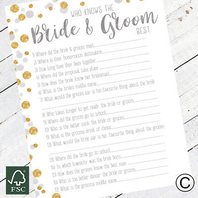 Who Knows The Bride and Groom Wedding Table Ice Breaker Hen Party Games - Bride And Groom Table