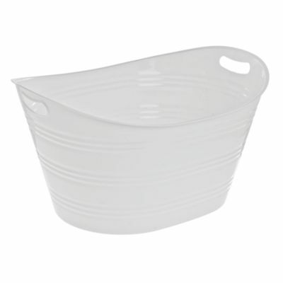 Party Tub Oval White Plastic -11 1/4