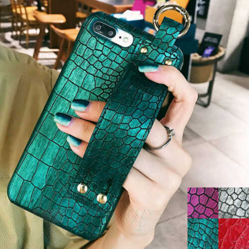 New Crocodile Leather Phone Case with Hand Strap Holder for