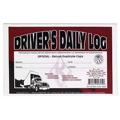 10-pack Jj Keller Drivers Daily Log Book 601ld8525 Wdvir Monthly Log Summary