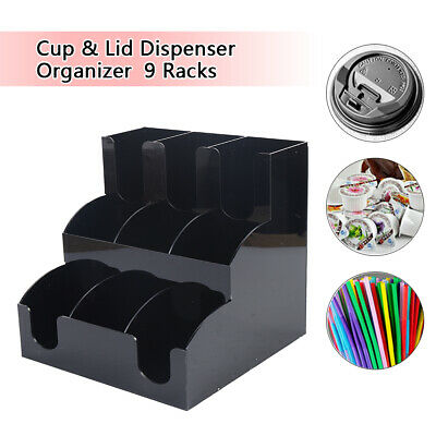 New Coffee Cup Dispenser Condiment Caddylid Holder Counter Organizer Acrylic Us