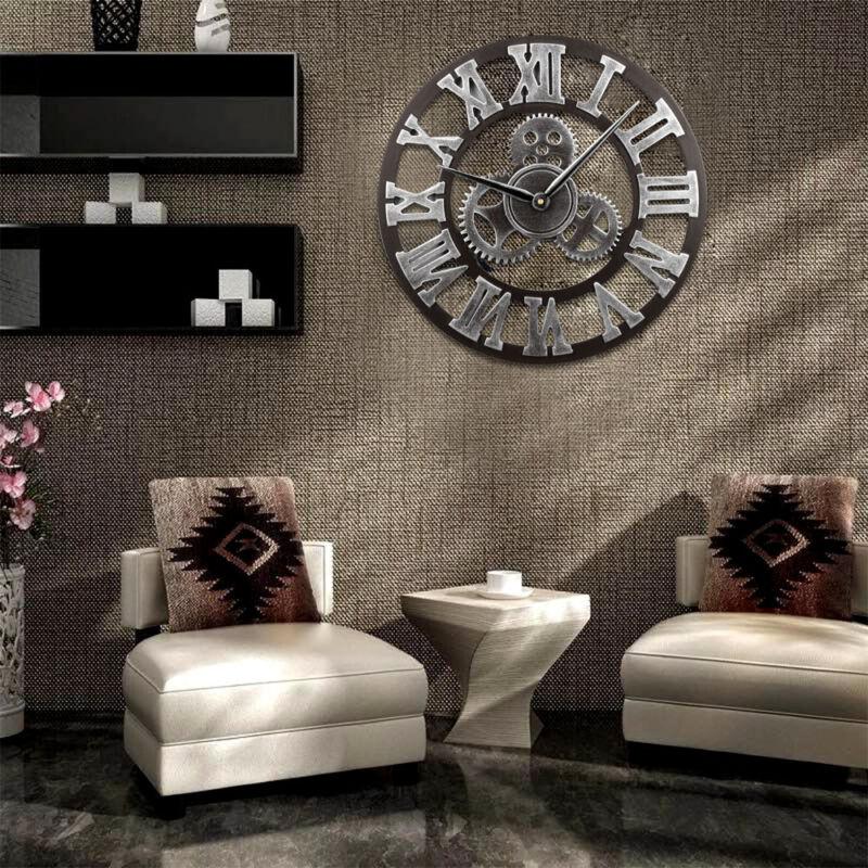 DE Groß Retro Holz Wanduhr Vintage Antik Design Modern Küchenuhr Wohnzimmer Uhr