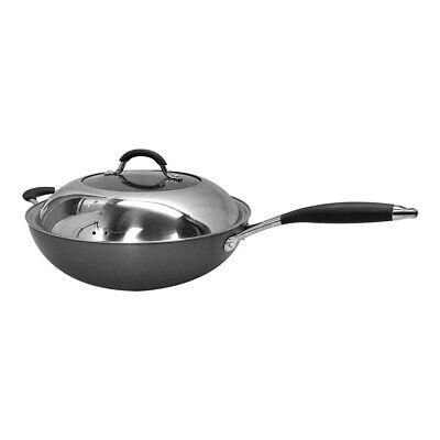 12'' Super Hard Anodized Wok Nonstick Coating Pot Fry Stir Pan Cookware Hard Coat Fry Pan