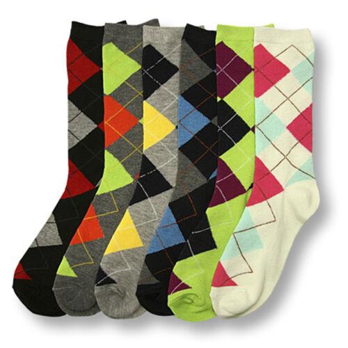 6 Pairs Women Comfort Socks Lot Long Lady Argyle Fashion Cre