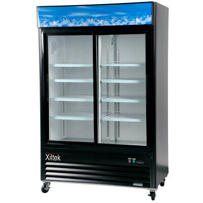 Double Sliding Door Display Beverage Cooler Merchandiser Refrigerator 49 Cu. Ft.
