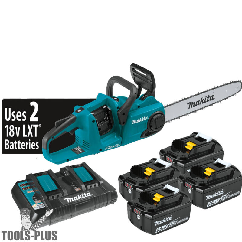 """Makita XCU04PT1 18V X2 (36V) LXT Li-Ion Brushless Cordless 16"""" Chain Saw Kit New"""