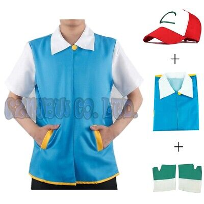 US Pokemon Ash Ketchum Trainer Costume Cosplay Shirt Jacket + Gloves + Hat 3pcs  - Pokemon Ash Costumes