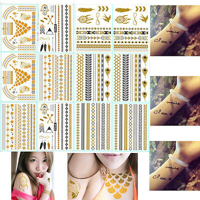 12 Sheet Temporary Metallic Tattoo Gold Silver Black Tattoos Makeup Inspired on Rummage