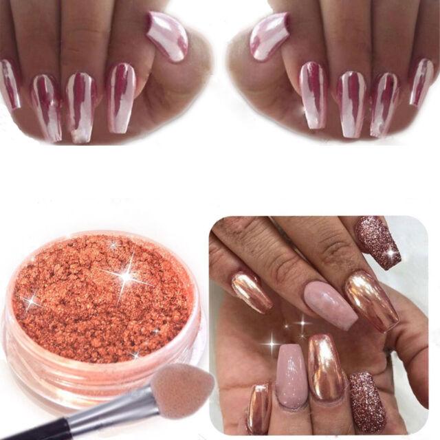 Rose Gold Nail Glitter Mirror Powder GEL Nail Polish Art Decor 3d ...