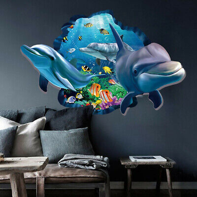 3D Ocean World Dolphin Removable Wall Stickers Vinyl Art Kids Room Decor Decals
