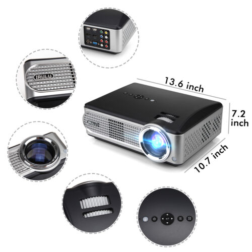 iRULU P4 Projectors 1080P HD LED Audio Home Theater Video