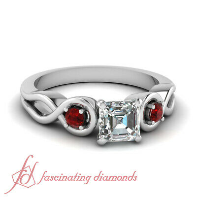 .60 Ct Asscher Cut Diamond & Round Red Ruby Three Stone Engagement Ring VVS1 GIA