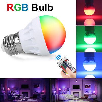 3W E27 16 Color Changing LED Magic RGB Light Bulb Lamp+ Wireless Remote Control