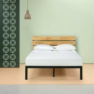 NEW Zinus Sonoma Metal  Wood Platform Bed with Wood Slat Support, King, Black Condtion: New, King