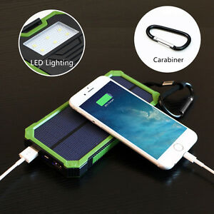 100000mAh Solar Power Bank Charger Ladegerät Externer Akku Dual USB LED Outdoor