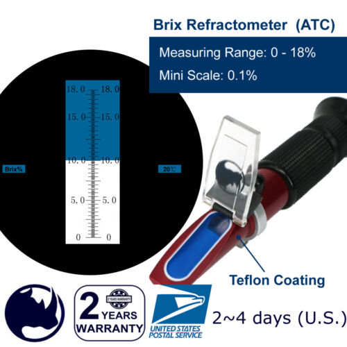 0-18% Brix (Low Sugar Fruits, Vegetable Juice, Maple Sap test) Refractometer ATC