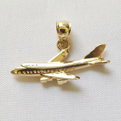 - 14k Yellow Gold  AIRPLANE Pendant / Charm, Made in USA