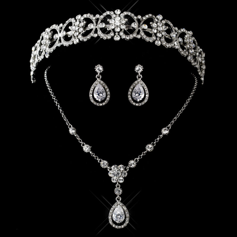 Antique Silver CZ Crystal Bridal Wedding Tiara Headpiece & Jewelry Necklace Set