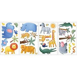 SAFARI JUNGLE animal wall stickers Rainforest 29 decals monkey elephant lion zoo