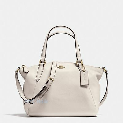 New Coach F57563 Mini Kelsey Satchel In Pebble Leather Chalk Gold Hardware Nwt