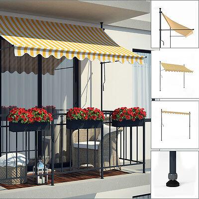 Markise Klemmmarkise Balkonmarkise 250 cm Terrasse Handkurbel manuell Weiß-Gelb